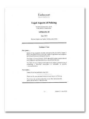 Legal Aspects of Policing, Update 35